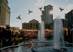 Mike Metzger jumps the fountains at Caesars Palace