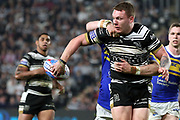 Hull FC back row forward Jordan Lane (26) plays a reverse pass during the Betfred Super League match between Hull FC and Leeds Rhinos at Kingston Communications Stadium, Hull, United Kingdom on 19 April 2018. Picture by Mick Atkins.