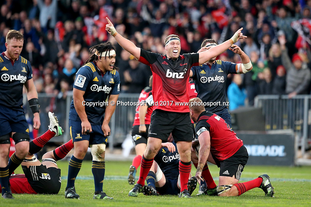 Wyatt Crockett of the Crusaders celebrates. Super Rugby match, Crusaders v Highlanders at AMI Stadium, Christchurch, New Zealand. 6th June 2017 © Copyright Photo: Martin Hunter / www.photosport.nz