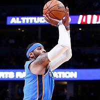 09 November 2017: Oklahoma City Thunder forward Carmelo Anthony (7) takes a jump shot during the Denver Nuggets 102-94 victory over the Oklahoma City Thunder, at the Pepsi Center, Denver, Colorado, USA.