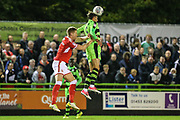 Forest Green Rovers Christian Doidge(9) heads the ball during the EFL Sky Bet League 2 match between Forest Green Rovers and Swindon Town at the New Lawn, Forest Green, United Kingdom on 22 September 2017. Photo by Shane Healey.