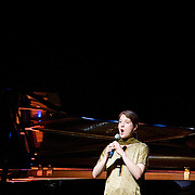 "April 9, 2011 - Manhattan, NY : American composer and vocalist Lisa Bielawa performs during the Japan Society's all-day special ""Concert For Japan"" charity event on Saturday. (This was taken during the Open Concert: Western Classical and Contemporary Music set)... CREDIT: Karsten Moran for The New York Times."