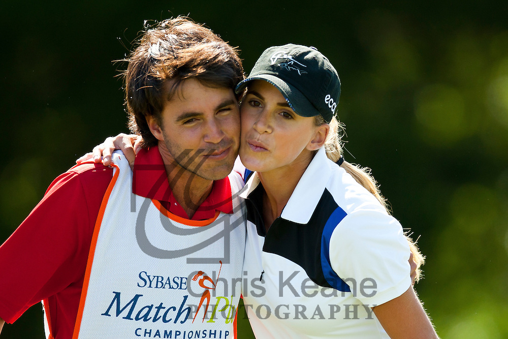 17 May 2012: Belen Mozo has a hug from her caddie after loosing during the first round of match play at the Sybase Match Play Championship at Hamilton Farm Golf Club in Gladstone, New Jersey on May 17, 2012.