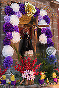 A community altar celebrating El Viernes de Dolores during Holy Week at the Aldama fountain March 23, 2018 in San Miguel de Allende, Mexico. The event honors the sorrow of the Virgin Mary for the death of her son and is an annual tradition in central Mexico.
