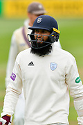 Hashim Amla of Hampshire during the opening day of the Specsavers County Champ Div 1 match between Somerset County Cricket Club and Hampshire County Cricket Club at the Cooper Associates County Ground, Taunton, United Kingdom on 11 May 2018. Picture by Graham Hunt.