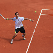 Robin Soderling, Sweden in action during his victory over Rafael Nadal, Spain, during the round four match at the French Open Tennis Tournament at Roland Garros, Paris, France on Sunday, May 31, 2009. Photo Tim Clayton.
