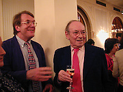 Jeremy Lewis, David Hughes. Duff  Cooper prize, Crystal Room, Mayfair Hotel. London. <br />
