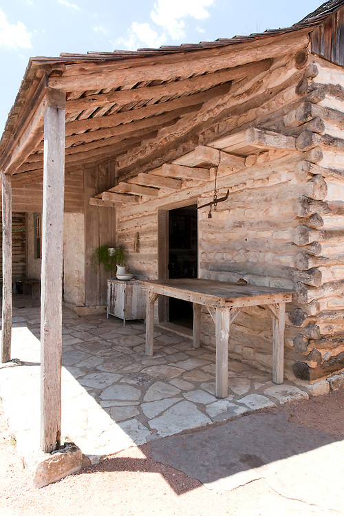 Original log cabin, built in 1869; Sauer-Beckman Living History Farm, LBJ State Park and Historic Site, Stonewall, TX