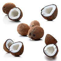 Coconuts on white background - studio shot
