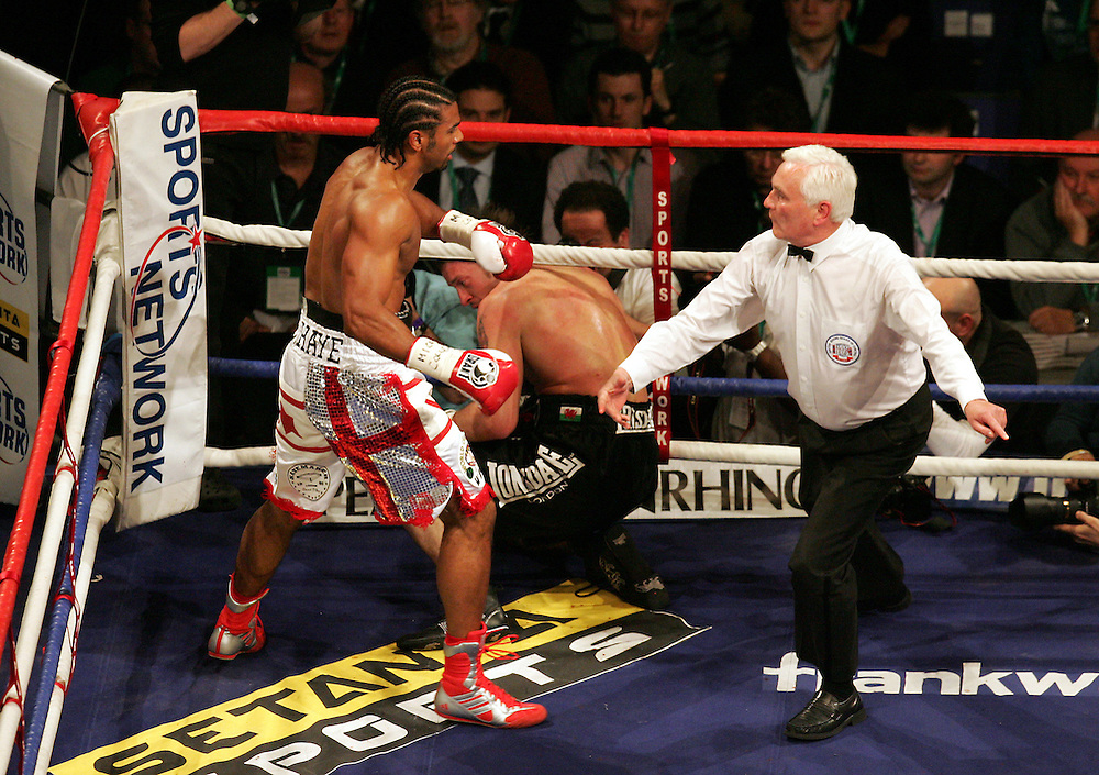 WBA and WBC champion David Haye knocks out WBO champion Enzo Maccarinelli in two rounds on Saturday night at the O2 Arena in London. 8th March 2008.