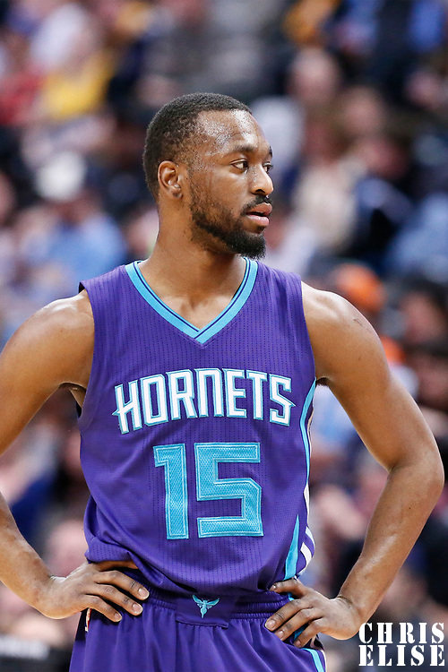04 March 2017: Charlotte Hornets guard Kemba Walker (15) rests during the Charlotte Hornets 112-102 victory over the Denver Nuggets, at the Pepsi Center, Denver, Colorado, USA.