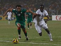 Photo: Steve Bond/Richard Lane Photography.<br />Ghana v Morocco. Africa Cup of Nations. 28/01/2008. Hans Adu Sarpei (R) defends against Tarik Sektioui (L)