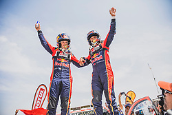 Nasser Al-Attiyah (QAT) and Matthieu Baumel (FRA) of Toyota Gazoo Racing SA at the finish line after the last stage of Rally Dakar 2019 from Pisco to Lima, Peru on January 17, 2019. // Flavien Duhamel/Red Bull Content Pool // AP-1Y5HCDUQH2111 // Usage for editorial use only // Please go to www.redbullcontentpool.com for further information. //