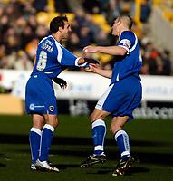 Photo: Ed Godden/Sportsbeat Images.<br />Wolverhampton Wanderers v Cardiff City. Coca Cola Championship. 20/01/2007. Cardiff's Michael Chopra (L) celebrates opening the scoring.