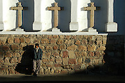 Man waiting outside Iglesia San Francisco, Sucre, Bolivia