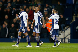 Saido Berahino of West Brom (c) celebrates with Stephane Sessegnon after scoring a goal to make it 2-0 - Photo mandatory by-line: Rogan Thomson/JMP - 07966 386802 - 11/02/2015 - SPORT - FOOTBALL - West Bromwich, England - The Hawthorns - West Bromwich Albion v Swansea City - Barclays Premier League.