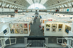 © Licensed to London News Pictures. 15/01/2019. LONDON, UK. General view of gallery space. Preview of London Art Fair 2019 at the Business Design Centre in Islington.  The annual fair showcases exceptional modern and contemporary art from the 20th century to present day and opens 16 to 20 January.  Photo credit: Stephen Chung/LNP