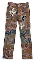 cargo camouflage pants by front