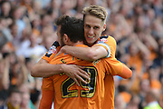 Goalscorers Dave Edwards and Adam Le Fondre celebrate Adam Le Fondre goal during the Sky Bet Championship match between Wolverhampton Wanderers and Charlton Athletic at Molineux, Wolverhampton, England on 29 August 2015. Photo by Alan Franklin.