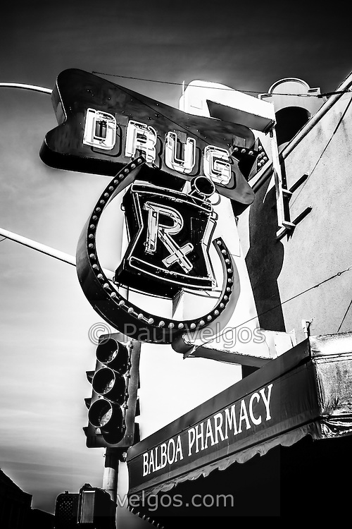 Balboa Pharmacy Drug Store in Orange County black and white photo. Balboa Pharmacy is located at Main Street and Balboa Boulevard on Balboa Peninsula in Newport Beach California.