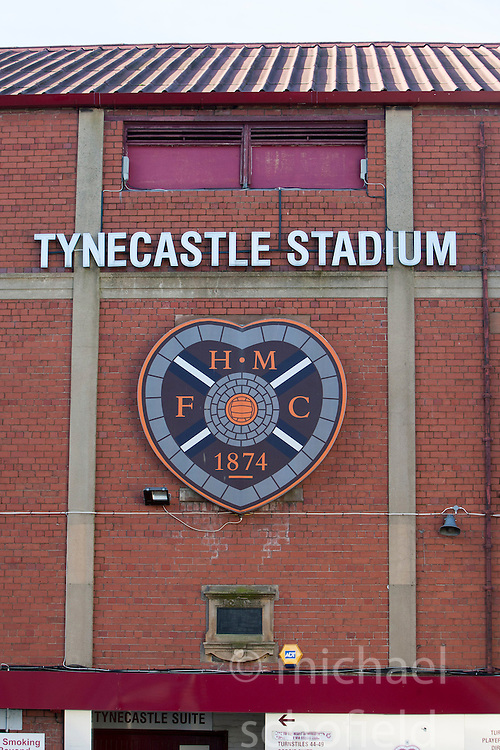 Scottish Premier League club Hearts home ground Tynecastle Stadium, situated in the Gorgie area of Edinburgh, Scotland.