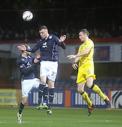 Adam Cummins wins a header - Dundee  v Queen of the South - SPFL Championship at Dens Park<br /> <br />  - &copy; David Young - www.davidyoungphoto.co.uk - email: davidyoungphoto@gmail.com