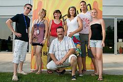 Matevz Brec, Klavdija Gorsek, Helena Javornik, Rasa Sraka, Primoz Simon, Andreja Drevensek with chef at SportForum picnic during BeachMaster 2010 on July 17, 2010, in Ptuj, Slovenia. (Photo by Matic Klansek Velej / Sportida)
