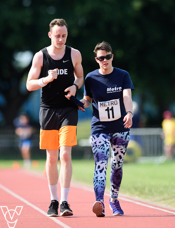 Metro Blind Sport's 2017 Athletics Open held at Mile End Stadium.  5000m.  Maya-Liam Haynes with guide runner<br /> <br /> Picture: Chris Vaughan Photography for Metro Blind Sport<br /> Date: June 17, 2017