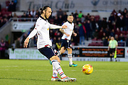 Bolton Wanderers defender (on loan from Rotherham United) Tom Thorpe (32) looks to release the ball during the EFL Sky Bet League 1 match between Northampton Town and Bolton Wanderers at Sixfields Stadium, Northampton, England on 26 November 2016. Photo by Dennis Goodwin.