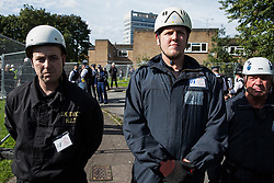 Bailiffs prevent housing activists from reentering properties from which they had been evicted on the Sweets Way housing estate on 23rd September 2015 in London, United Kingdom. A group of housing activists calling for better social housing provision in London had occupied some of the properties on the 142-home estate in Whetstone, in some cases refurbishing properties intentionally destroyed by the legal owners following eviction of the original residents, in order to try to prevent the eviction of the last resident on the estate and the planned demolition and redevelopment of the entire estate by Barnet Council and Annington Property Ltd.