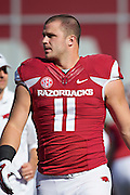 FAYETTEVILLE, AR - OCTOBER 25:  A.J. Derby #11 of the Arkansas Razorbacks warming up before a game against the UAB Blazers at Razorback Stadium on October 25, 2014 in Fayetteville, Arkansas.  The Razorbacks defeated the Blazers 45-17.  (Photo by Wesley Hitt/Getty Images) *** Local Caption *** A.J. Derby