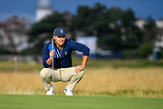 John Pak (USA) lines up a put on the first green during the Saturday morning Foursomes in the Walker Cup at the Royal Liverpool Golf Club, Saturday, Sept 7, 2019, in Hoylake, United Kingdom. (Steve Flynn/Image of Sport)