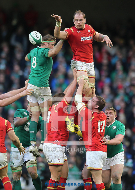 Jamie Heaslip of Ireland and Luke Charteris of Wales during the RBS 6 Nations match at the Aviva Stadium, Dublin<br /> Picture by Lorraine O'Sullivan/Focus Images Ltd +353 872341584<br /> 07/02/2016