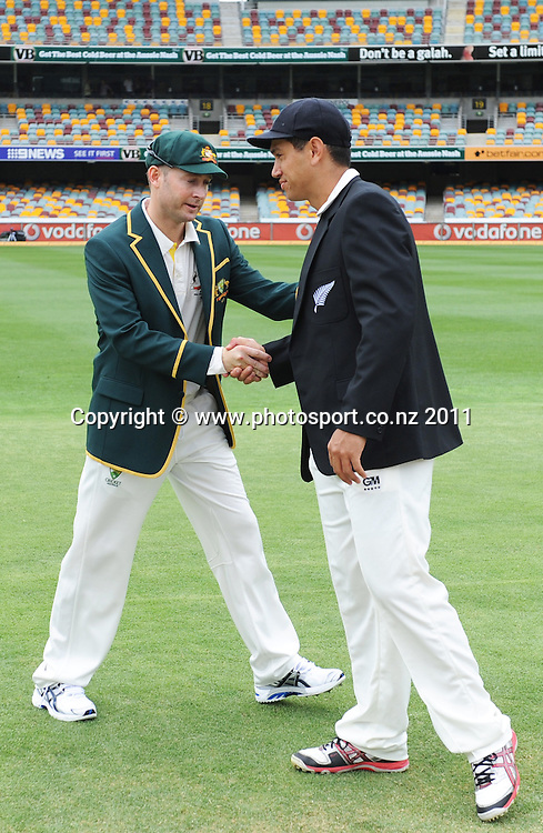 Captain's Michael Clarke and Ross Taylor shake hands on Day 1 of the first cricket test between Australia and New Zealand at the Gabba in Brisbane, Thursday 1 December 2011. Photo: Andrew Cornaga/Photosport.co.nz