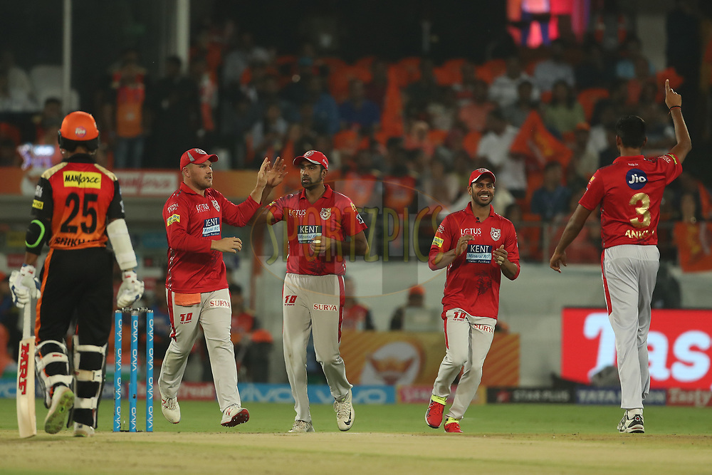 Ravichandran Ashwin of the Kings XI Punjab celebrates the wicket of Kane Williamson of the Sunrisers Hyderabad during match twenty five of the Vivo Indian Premier League 2018 (IPL 2018) between the Sunrisers Hyderabad and the Kings XI Punjab  held at the Rajiv Gandhi International Cricket Stadium in Hyderabad on the 26th April 2018.<br /> <br /> Photo by: Ron Gaunt /SPORTZPICS for BCCI