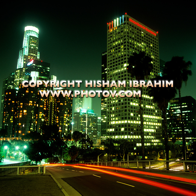 Los Angeles skyline, Downtown District at night, California, USA.