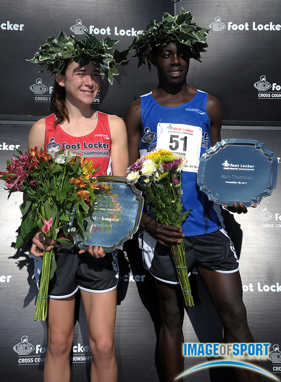 Dec 10, 2011; San Diego, CA, USA; Molly Seidel (left) and Edward Cheserek were the girls and boys winners in the 2011 Foot Locker cross country championships at Morley Field.