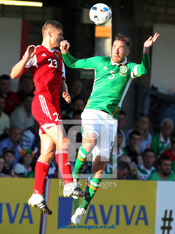 Richard Keogh of the Republic of Ireland and Mikalai Yanush of Belarus during the International Friendly match at Turners Cross, Cork<br />Picture by Yannis Halas/Focus Images Ltd +353 (87) 2582019<br />31/05/2016