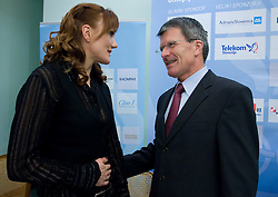 Petra Majdic and Stane Valant of SZS at press conference when she has signed a contract with IOC and OKS for 16 months long sponsorship (1500 $ monthly) till Olympic games in Vancouver 2010, on December 22, 2008, Grand hotel Union, Ljubljana, Slovenia. (Photo by Vid Ponikvar / SportIda).