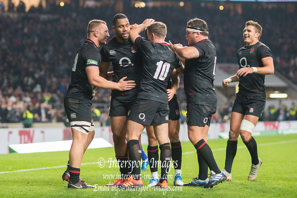 Twickenham, United Kingdom, Saturday, 17th  November 2018, RFU, Rugby, Stadium, England, Team Mates gather round, Joe COKANASIGA, after his try down, during the second half of the Quilter Autumn International, England vs Japan, © Peter Spurrier