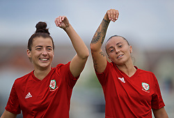 NEWPORT, WALES - Monday, September 2, 2019: Wales' Angharad James (L) and Natasha Harding during a training session at Rodney Parade ahead of the UEFA Women Euro 2021 Qualifying Group C match against Northern Ireland. (Pic by David Rawcliffe/Propaganda)