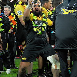 Loni Uhila celebrates winning the Super Rugby final match between the Hurricanes and Lions at Westpac Stadium, Wellington, New Zealand on Saturday, 6 August 2016. Photo: Dave Lintott / lintottphoto.co.nz