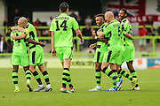 The players celebrate Forest Green Rovers Keanu Marsh-Brown (7) goal, 1-0 during the Vanarama National League match between Forest Green Rovers and Bromley FC at the New Lawn, Forest Green, United Kingdom on 17 September 2016. Photo by Shane Healey.