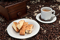 Espresso Coffee and italian Biscotti with Almonds and Walnuts