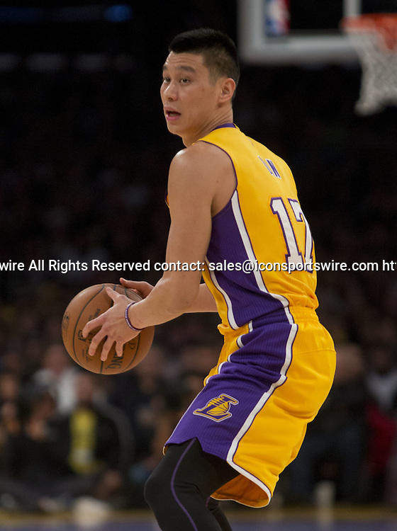Dec. 19, 2014 - Los Angeles, California, U.S - Jeremy Lin #17 of the Los Angeles Lakers with the ball during their game with the Oklahoma City Thunder. Los Angeles Lakers lose to the visiting Oklahoma City Thunder 104-103, on Friday December 19, 2014 at the Staples Center in Los Angeles, California