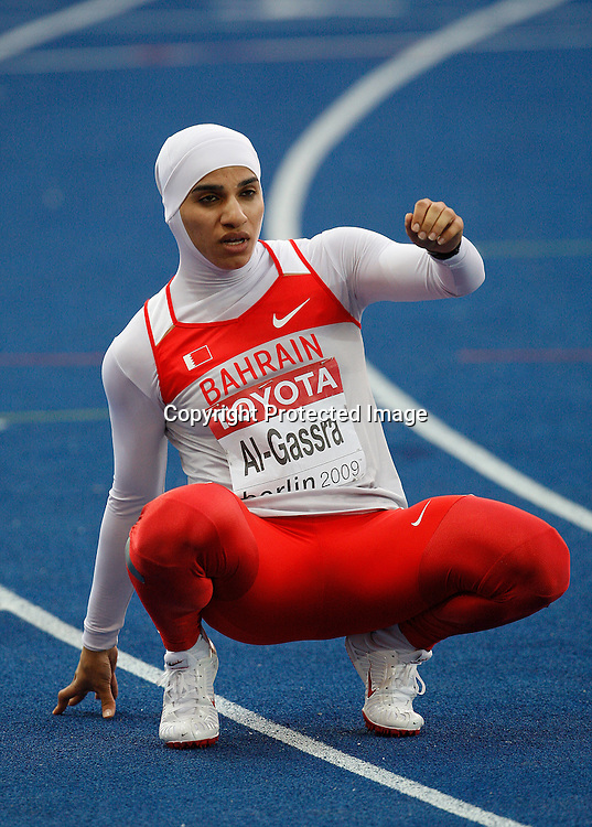 Rakia Al-Gassra of Bahrain after competing in a Women's 200m heat during the 12th IAAF Athletic World Championships at the Olympic Stadium in Berlin, Germany, 19 August 2009. Photo: Piotr Hawalej / WROFOTO / PHOTOSPORT