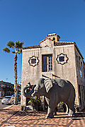An elephant sculpture in the trendy neighborhood of Burns Square in downtown Sarasota, Florida.