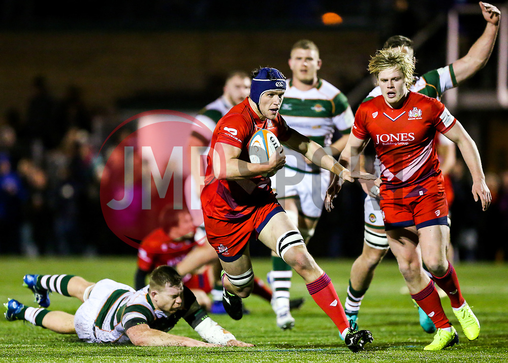 Sam Jeffries of Bristol Rugby gets away to score a try - Rogan/JMP - 10/02/2018 - RUGBY UNION - Trailfinders Sports Ground - Ealing Trailfinders v Bristol Rugby - Greene King IPA Championship.