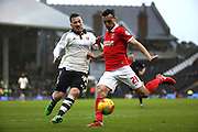 Fulham Striker, Ross McCormack (44) helping to defend a shot from Charlton Athletic defender, Morgan Fox (21) during the Sky Bet Championship match between Fulham and Charlton Athletic at Craven Cottage, London, England on 20 February 2016. Photo by Matthew Redman.