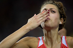 Croatia's Blanka Vlasic crying after winning the women's high jump final of the 12th IAAF World Athletics Championships at the Olympic Stadium on August 20, 2009 in Berlin, Germany. (Photo by Vid Ponikvar / Sportida)